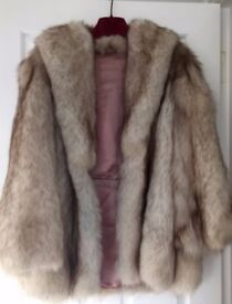 Vintage 1920's couture white mink real arctic fox real fur coat, UK 8-10, UK 10-12, UK 12-14,