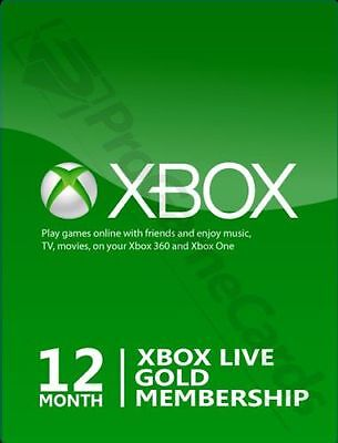 12 Month Microsoft Xbox Live Gold Membership Subscription For Xbox One Xbox 360