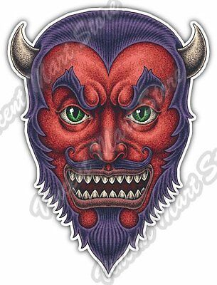 Red Devil Head Monster Horns Fangs Scary Car Bumper Vinyl Sticker Decal 4