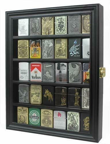 Sport Zippo Cigarette Lighter Display Case Wall Cabinet, Lockable, LC30-BLA