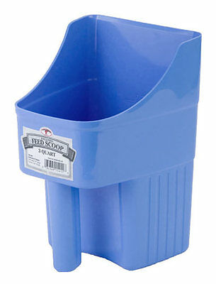 LITTLE GIANT ENCLOSED FEED SCOOP Plastic Measuring Lines Flat Bottom 3qt B Blue Miller Enclosed Feed Scoop