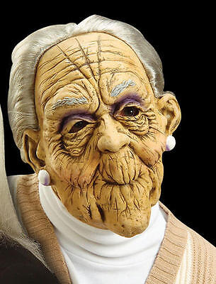 Scary Old Woman Lady Rubber Mask & Hair Granny Halloween Fancy Dress (Old Lady Halloween Hair)