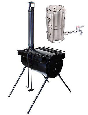 Portable Military Camping Ice Fishing Cook Wood Stove Tent Heater + Water Kettle