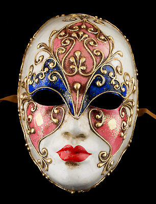 Mask from Venice Face Volto Pink Blue Paper Mache Gold Embellishment 1770 VG4