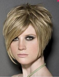 New Hair Light Blonde Wig Short Straight Layered  Wig ( free shipping )