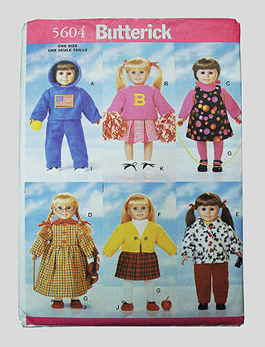 """BUTTERICK 5604 PATTERN - American made - for 18"""" girl dolls - NEW!- Uncut!"""
