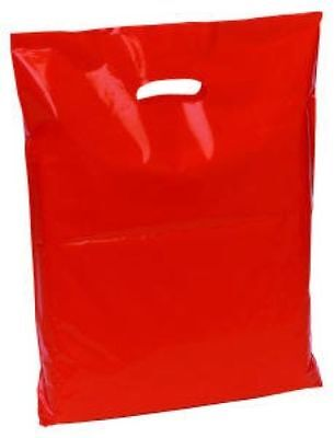 100 Red Plastic Shopping Retail Carrier Bags 15 x 18 x 3 Inch Patch Handle