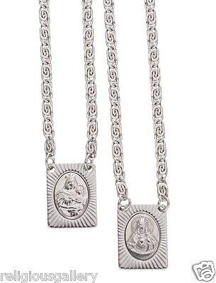 Stainless Steel Scapular, Sacred Heart of Jesus & Virgin of Mount Carmel Medal ()