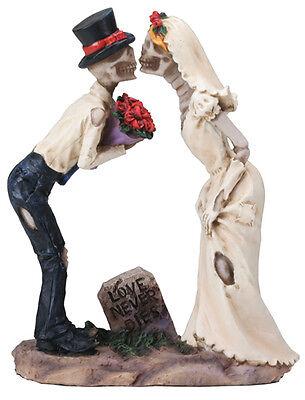 LOVE NEVER DIES WEDDING COUPLE SKELETON COOL HALLOWEEN WEDDING CAKE TOPPER.7949S