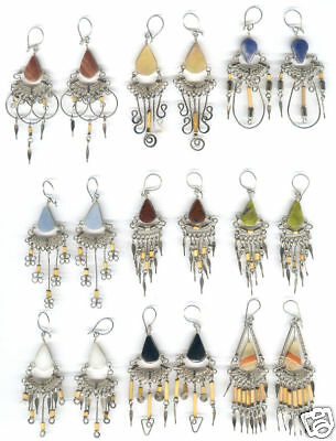 20 EARRINGS BAMBOO STONE PERU WHOLESALE ARTISAN JEWELRY