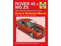 Haynes Workshop Repair Manual ROVER 45 & MG ZS 99 - 05