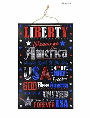 4th Of July Signs (4th of July Glittery Liberty Hanging Sign Wall)