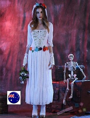 Women Party Fancy Vampire Skull Bride White Halloween Costume Dress Headband set