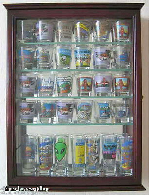 36 Shot Glass or 21 Shooter Display Case Cabinet with door, Solid Wood,SCD06B-CH