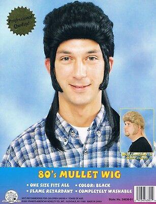 Hick Costume (Mullet Wig 1980s Black Glam Rock New Wave Hick Redneck Funny Costume)