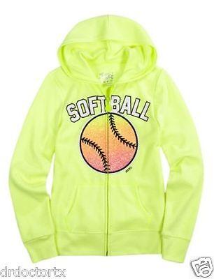 Glow In The Dark Softball (NWT NEW GIRLS JUSTICE SIZE 5 FLEECE JACKET HOODIE SOFTBALL GLOW IN THE)