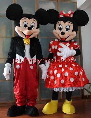 Mickey And Minnie Mouse Adult Costumes (New Professional Both Mickey and Minnie Mouse Mascot Costume Fancy Dress Adult)