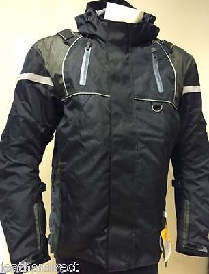 Black Reflective Cordura Motorbike Motorcycle Jacket Textile Armoured Waterproof - Motorcycle Reflective Cordura Textile Jacket