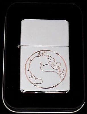 MORTAL KOMBAT Dragon Engraved Chrome Great Metal Cigarette Lighter Gift LEN-0017 ()