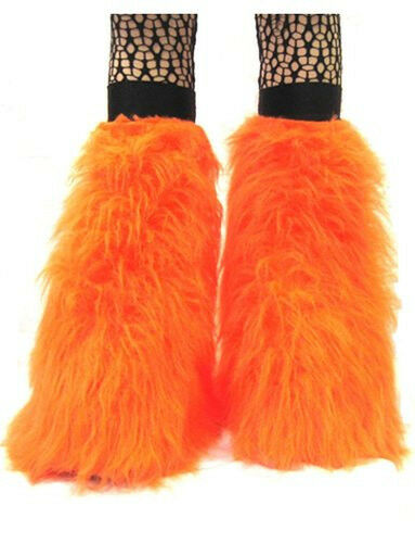 ORANGE UV FLUFFY FURRY BOOT COVERS LEGWARMER NEON PARTY RAVE DANCE CLUBWEAR.