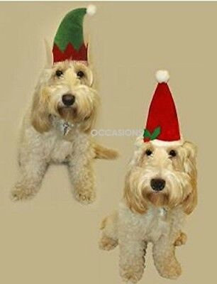 2 Pet Christmas Hats Elf Santa Hat Dog Cat Puppy Doggy Xmas Fancy Dress Up Gift