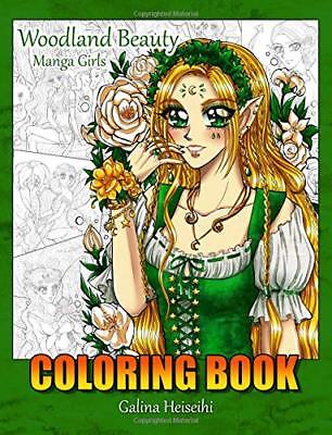 Woodland Manga Girls Adult Colouring Book Japanese Anime Faries - Woodland Faries