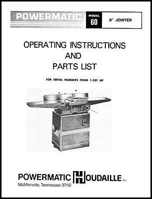 Powermatic Model 60 8 Inch Jointer Manual