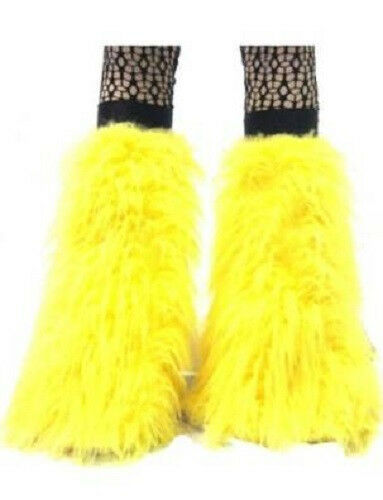 YELLOW FLUFFY FURRY  BOOT COVERS LEGWARMER PARTY  RAVE DANCE HALLOWEEN CLUBWEAR
