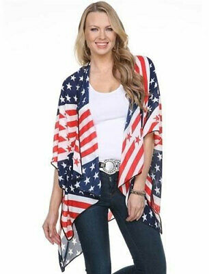 American Flag Patriotic Kimono USA 4th of July Red White Blue Stars and Stripes
