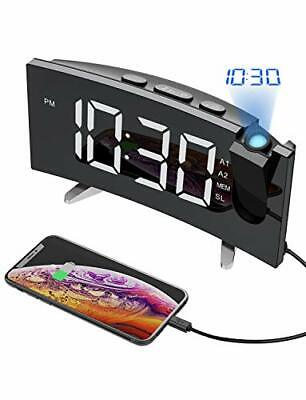 PICTEK Projection Digital Alarm Clock Radio for Bedrooms Ceiling with USB Pho...