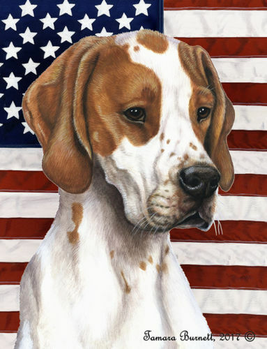 Patriotic (D2) Garden Flag - Red and White English Pointer 324681