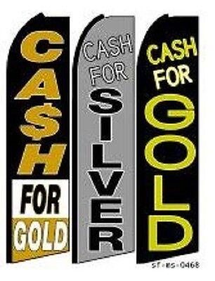 Cash For Gold Silver King Size Swooper Flag Sign Wcomplete 3 Set
