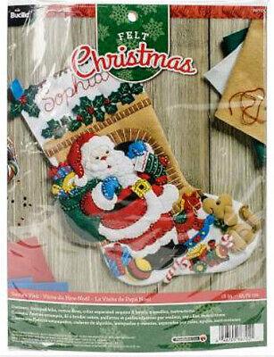 - Bucilla Felt Stocking Kit Santa's Visit, 18in embroidery, XMAS, Christmas