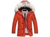 Men's Long Padded Coat Cotton Solid Long Sleeve- Autumn / Winter Jacket