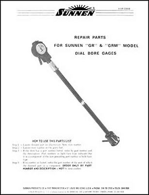 Sunnen Gr Grm Dial Bore Gage Parts Manual