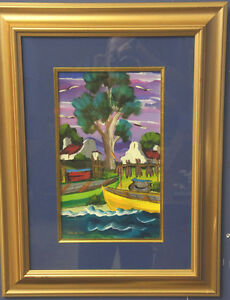 Framed Original Painting by African Artist Boats