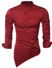 Men's Party Shirt/Cocktail/Wedding Simple All Seasons Shirt,Solid Stand Long Sleeve/Red/Cotton Thin