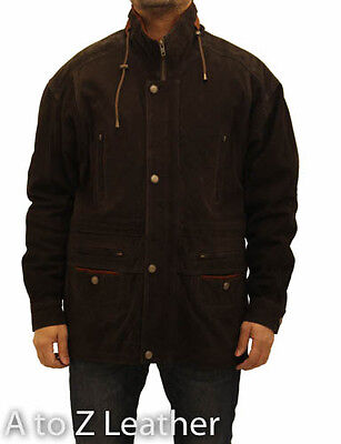 Mens 3/4 Length Brown With Tan Contrast Classic Parka Nubuck Suede Leather Coat