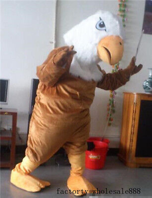 Eagle Head Costume (Eagle Adults Mascot Advertising Brown Head Bald Costume Fancy Dress Cosplay)