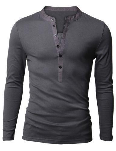 Mens long sleeve pocket tee shirt ebay for Long sleeve pocket shirts