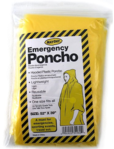 2 Emergency Hooded Rain Poncho Adult Disposable Camping Hiki