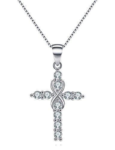 "Jewellery - Women's 925 Sterling Silver CZ Crystal Cross Pendant 18"" Link Chain Necklace"