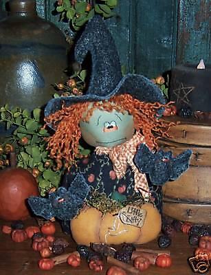 Primitive Witch Ann Halloween Bat Doll Paper Pattern #473