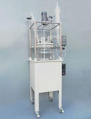 100l Single-deck Glass Chemical Reactor Chemistry Reacting Vessel W Water Bath