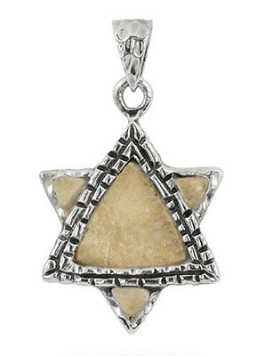 JERUSALEM STONE & 925 STERLING SILVER STAR OF DAVID PENDANT - Made in Israel