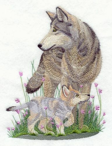 "Wolf & Cub, Embroidered Patch 5.8""x 7.8"""
