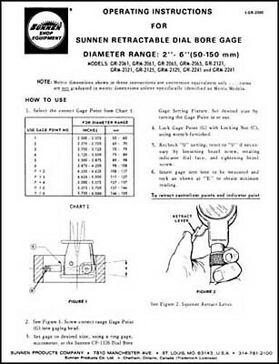 Sunnen Retractable Dial Bore Gage Instruction Manual