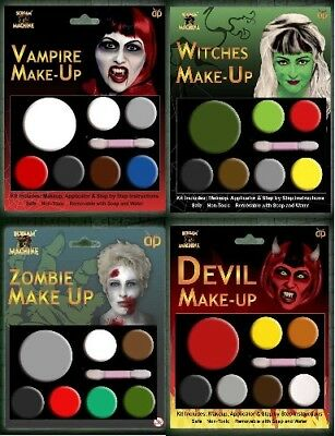 HALLOWEEN FACE PAINT MAKEUP KIT VAMPIRE, DEVIL, WITCHES, ZOMBIE MAKEUP SET