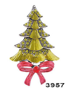 X'mas tree brooch Pin ladies alloy rhinestone Enamel