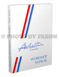 1963 1964 Studebaker Avanti Shop Manual 63 64 Repair Service Book with wiring